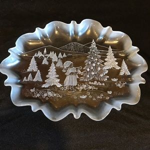 Christmas Platter Plate Frosted Clear Glass
